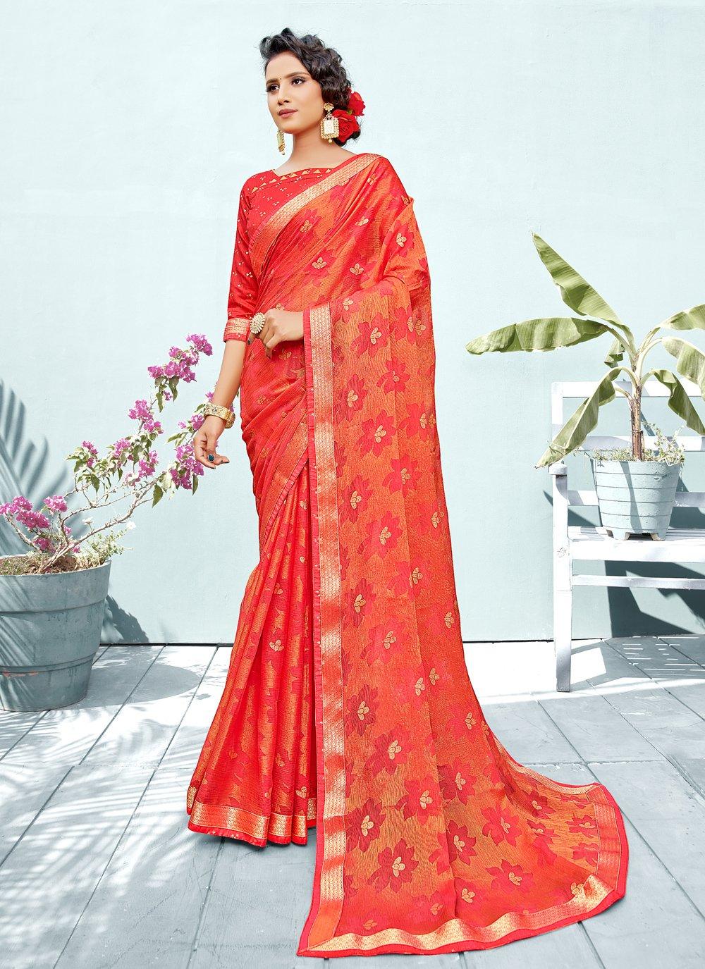 Classic Designer Saree Fancy Brasso in Red