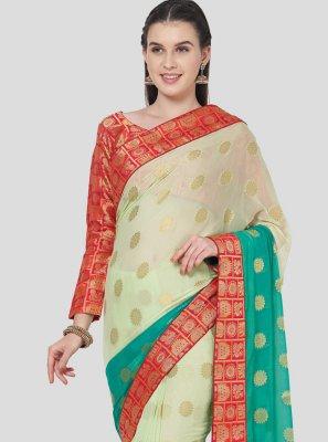 Classic Designer Saree Fancy Faux Chiffon in Multi Colour