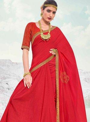 Classic Designer Saree Lace Vichitra Silk in Maroon