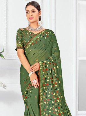 Classic Designer Saree Print Weight Less in Green