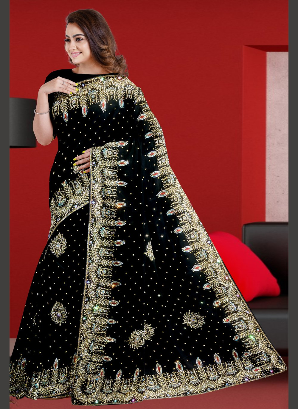 Classic Designer Saree Resham Faux Georgette in Black