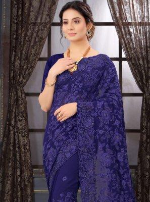 Classic Designer Saree Resham Georgette in Navy Blue
