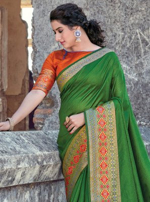 Classic Designer Saree Weaving Handloom Cotton in Green