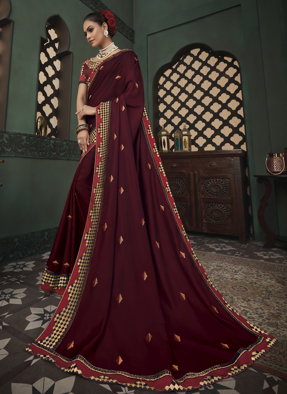 Classic Saree Embroidered Fancy Fabric in Wine