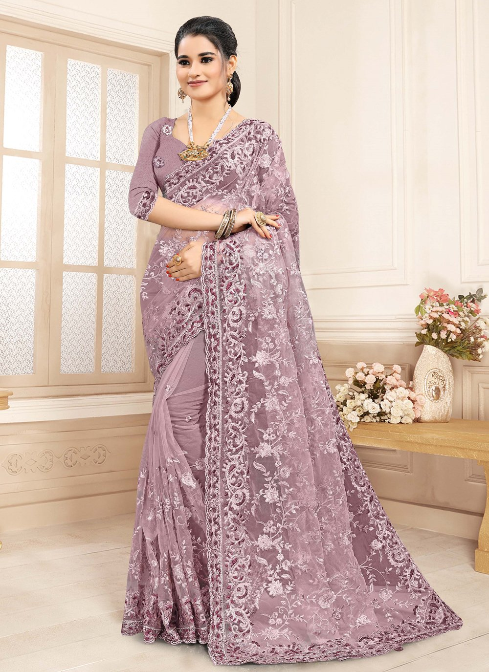 Classic Saree Embroidered Net in Lavender