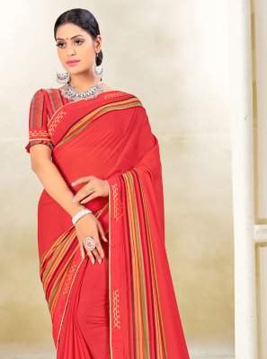Classic Saree Fancy Weight Less in Red