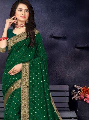 Classic Saree Lace Vichitra Silk in Green