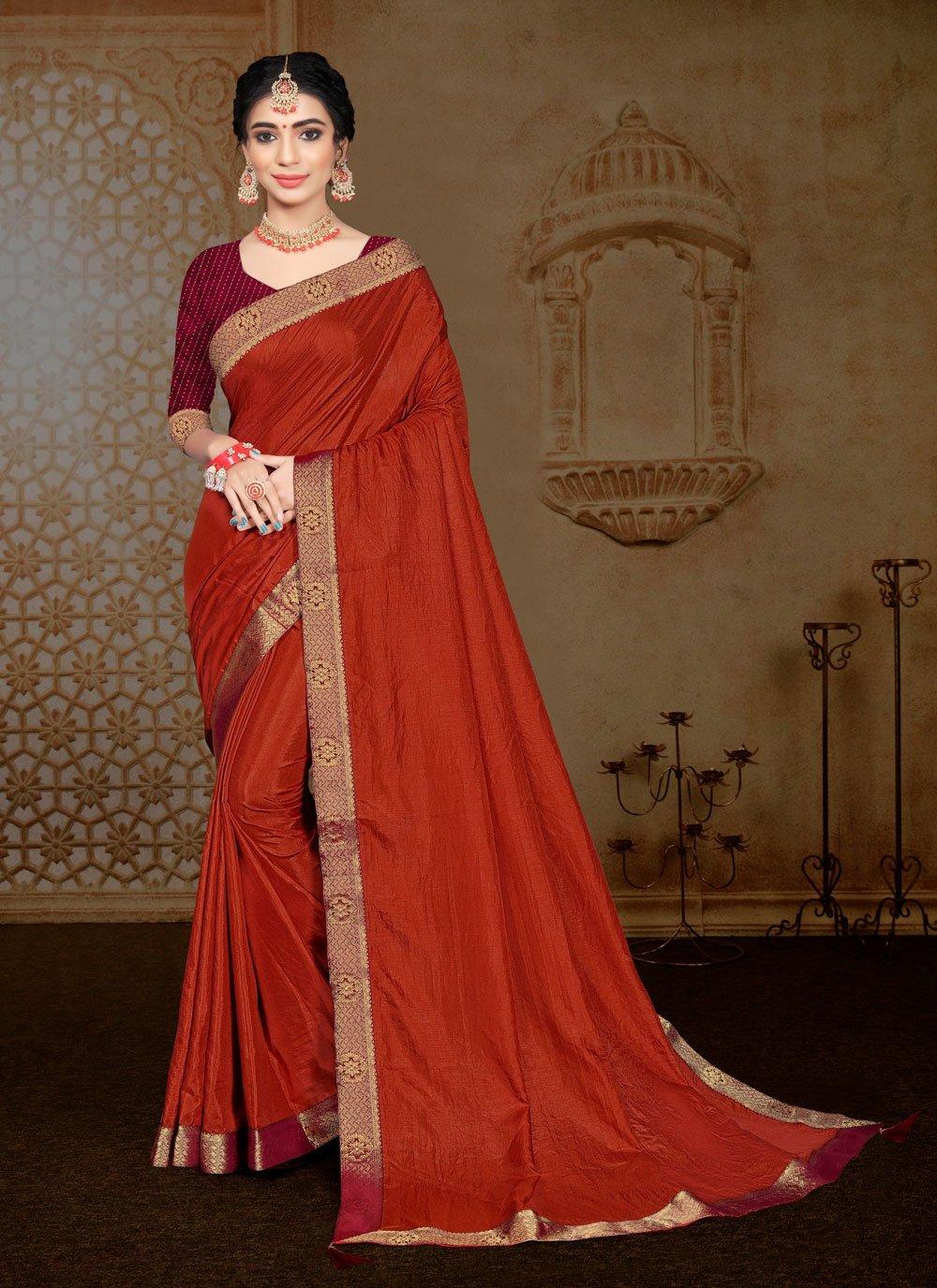 Classic Saree Lace Vichitra Silk in Orange