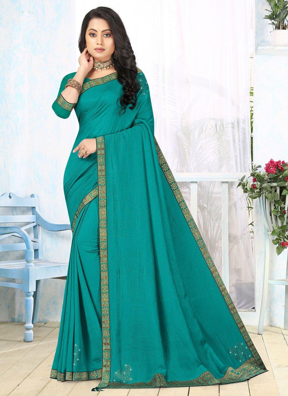 Classic Saree Lace Vichitra Silk in Turquoise