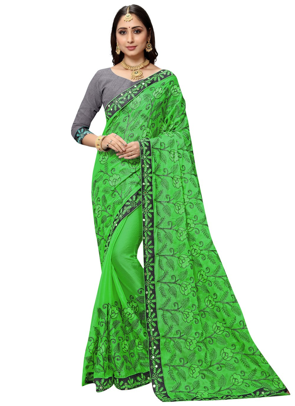 Classic Saree Patch Border Faux Chiffon in Green