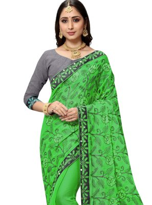 Classic Saree Patch Border Faux Chiffon in Green