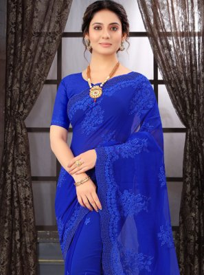 Classic Saree Resham Georgette in Blue