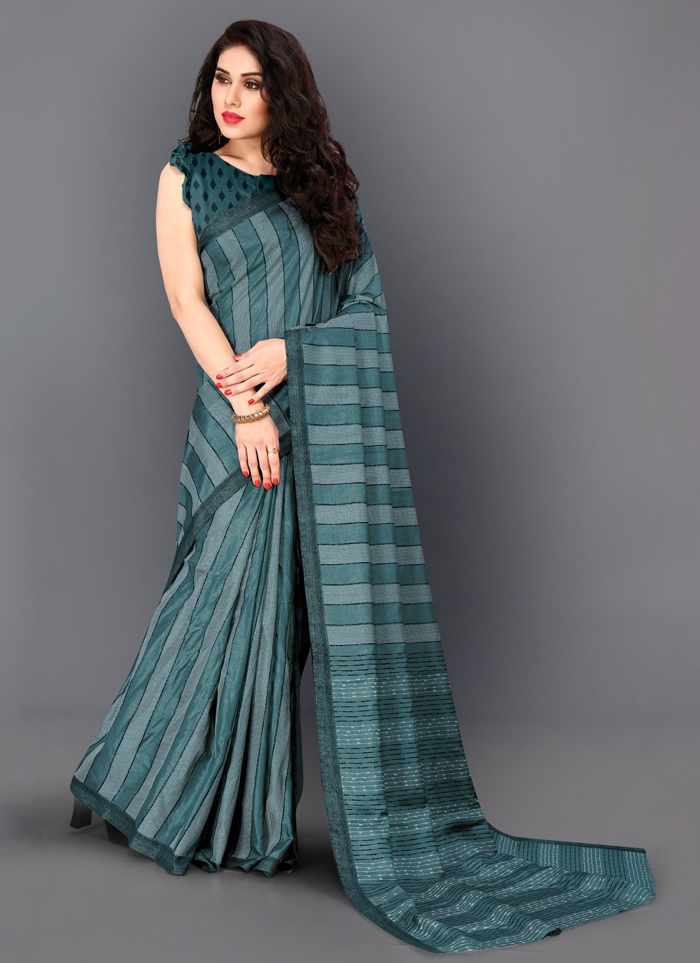 Classic Saree Thread Work Manipuri Silk in Turquoise