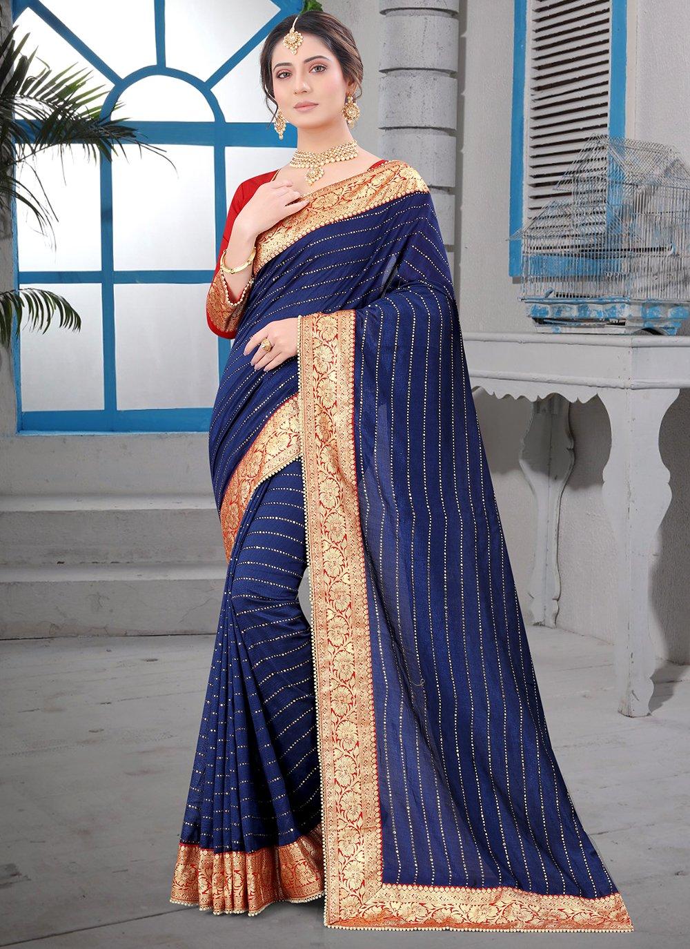 Contemporary Saree Patch Border Silk in Navy Blue