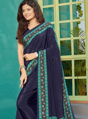 Contemporary Saree Printed Crepe Silk in Navy Blue