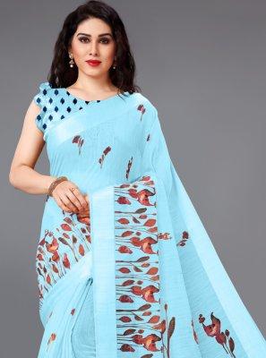 Cotton Abstract Print Blue Printed Saree