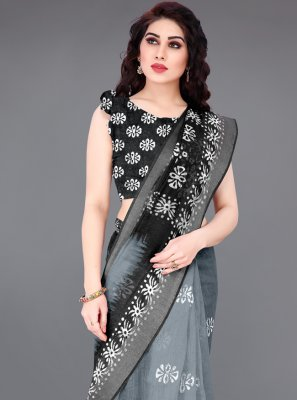 Cotton Abstract Print Grey Printed Saree