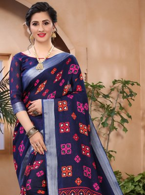 Cotton Abstract Print Printed Saree in Blue