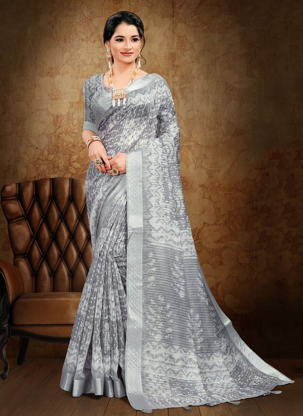 Cotton Abstract Print Printed Saree in Grey
