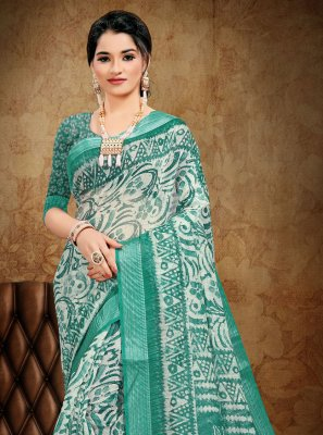 Cotton Abstract Print Sea Green Printed Saree