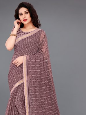 Cotton Abstract Print Wine Printed Saree
