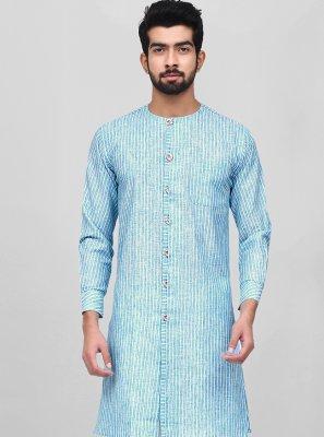Cotton Aqua Blue Kurta Pyjama
