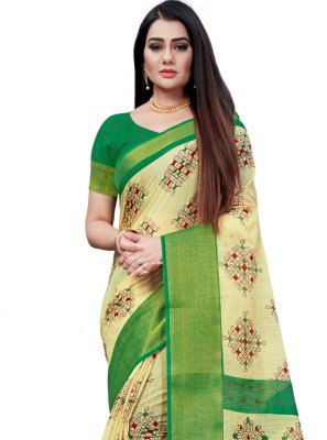 Cotton Beige and Green Printed Saree
