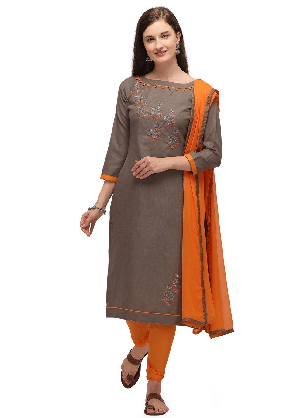 Cotton Beige Embroidered Churidar Designer Suit