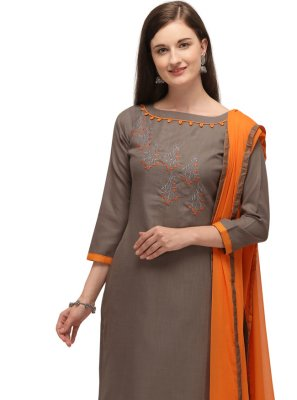 Cotton Beige Embroidered Churidar Designer Suit