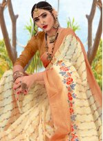Cotton Beige Woven Trendy Saree