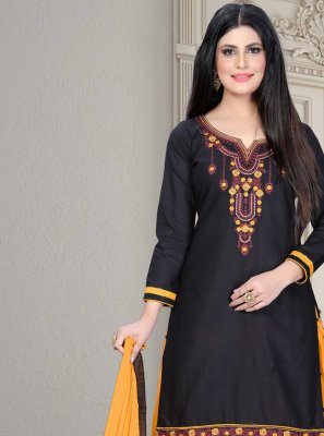 Cotton Black Embroidered Designer Patiala Suit