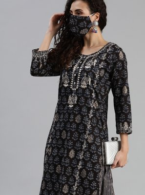 Cotton Black Embroidered Party Wear Kurti