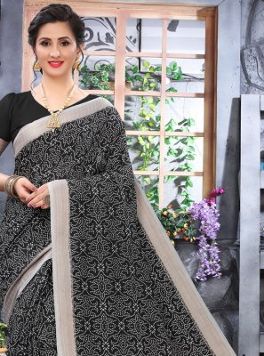 Cotton Black Printed Printed Saree