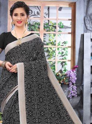Cotton Black Printed Printed Saree