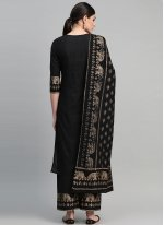 Cotton Black Printed Readymade Suit