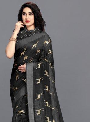 Cotton Black Printed Saree