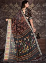Cotton Black Printed Trendy Saree