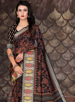 Cotton Black Printed Trendy Saree