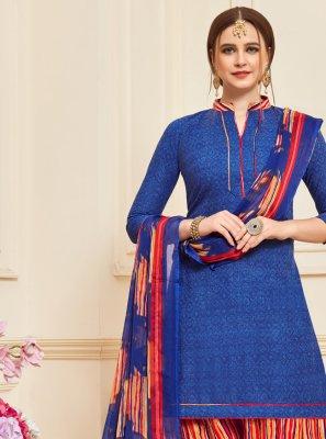 Cotton Blue Designer Patiala Suit