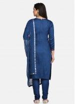 Cotton Blue Designer Suit