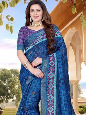 Cotton Blue Digital Print Classic Saree