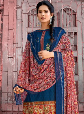 Cotton Blue Embroidered Designer Pakistani Suit
