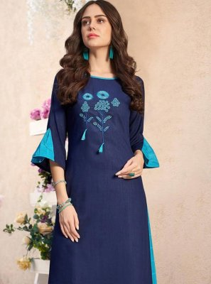 Cotton Blue Embroidered Party Wear Kurti