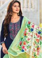 Cotton Blue Embroidered Straight Suit
