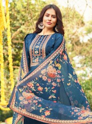Cotton Blue Handwork Designer Palazzo Salwar Suit