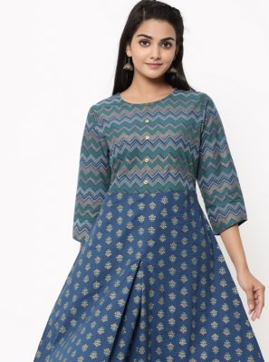 Cotton Blue Print Designer Kurti