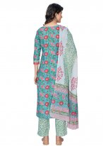Cotton Blue Printed Readymade Suit
