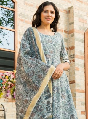 Cotton Blue Printed Salwar Kameez