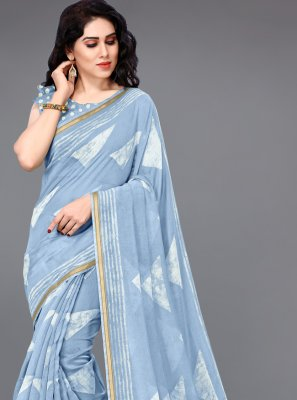 Cotton Blue Printed Saree