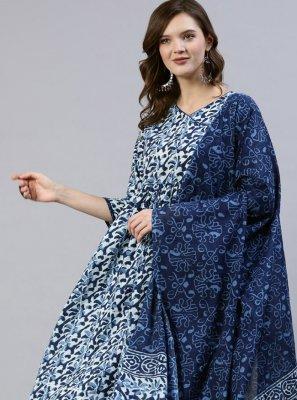 Cotton Blue Readymade Suit